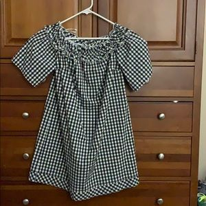 Black and white checkered A-line dress